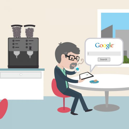 Illustration of man who is working a tablet during lunchbreak