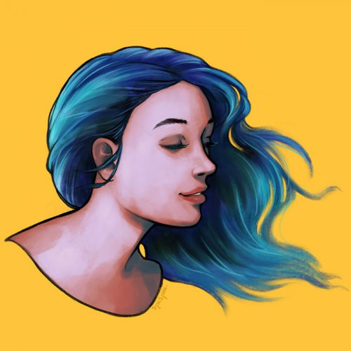 Blue haired girl preview